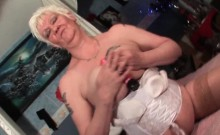 Trashy Mature Dildoing Her Shaved Pussy