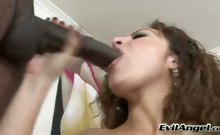 Sexy Curly Brunette Enjoys Sucking On A Hard Big Black Dick