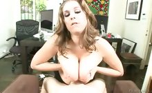 Secretary finds out what her boss likes and tits fuck him!