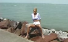 Doll urinates on beach