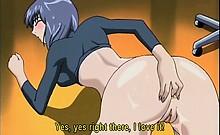 Hentai brunette dildo fucking her little ass on the floor