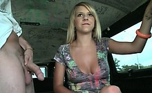 Gorgeous blonde amateur eating big dick in the sex bus