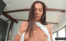 Teen bikini babe strips of naked