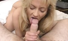 Poor and lonely mom sucks her friend's dick for only a