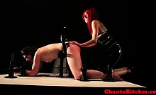 Lezdom mistress uses machine and whip