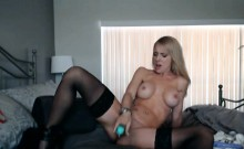 Blonde Grinds her Pussy on her Dildo
